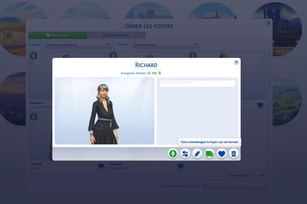 Déménager un Sim ou une famille