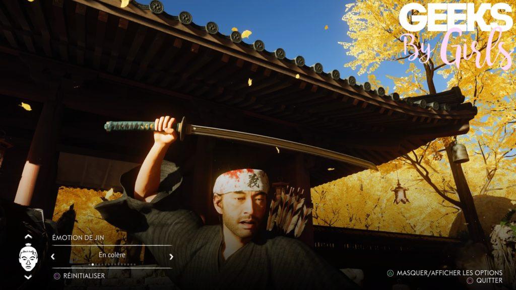 Une capture de Jin sensée exprimer de la colère dans Ghost of Tsushima