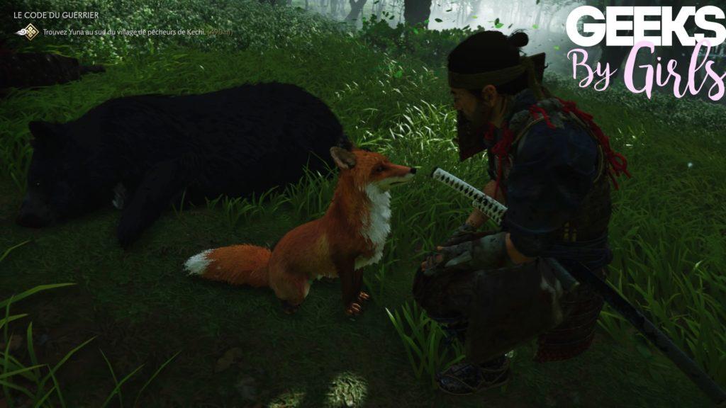 Jin remercie son guide avant de récupérer la peau de l'ours qu'il a tué dans Ghost of Tsushima