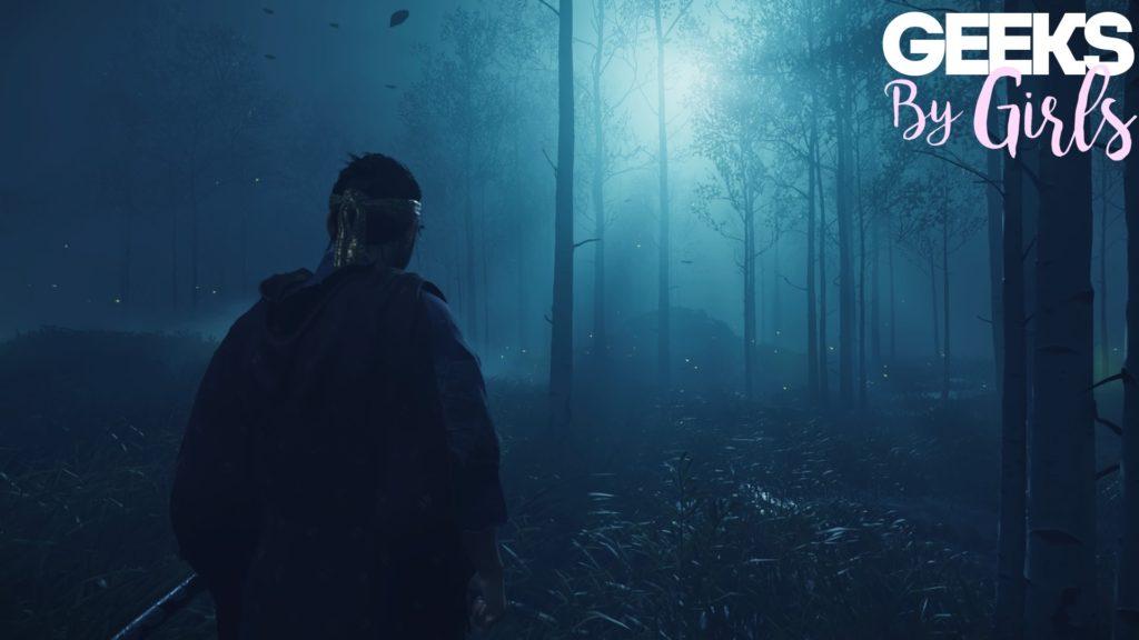 Une capture du jeu Ghost of Tsushima avec le mode photo intégré