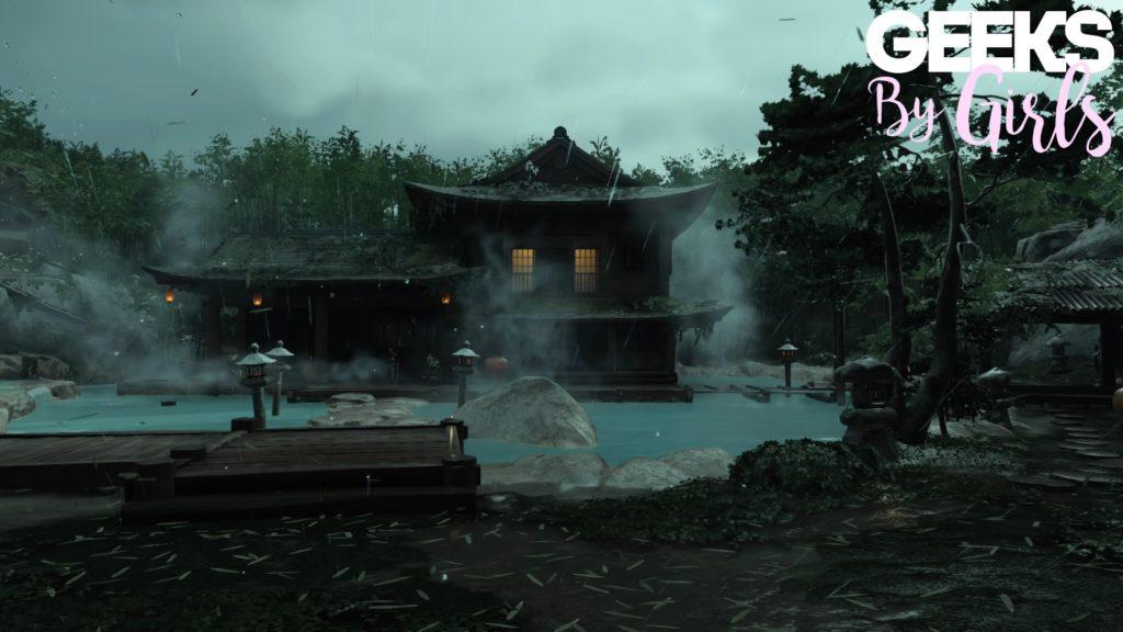 Une maison entourée de sources chaudes dans Ghost of Tsushima