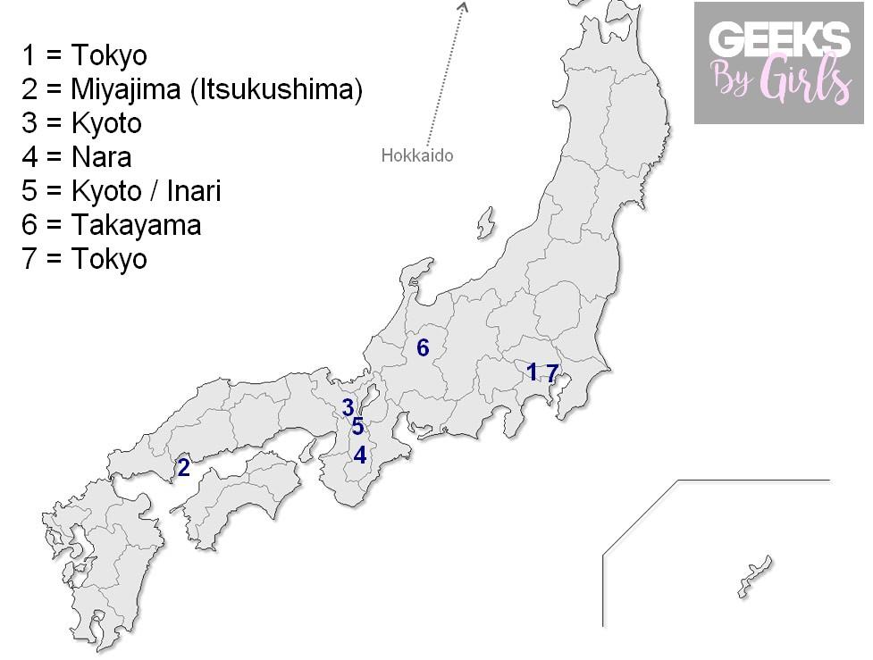 Itinéraire du voyage au Japon