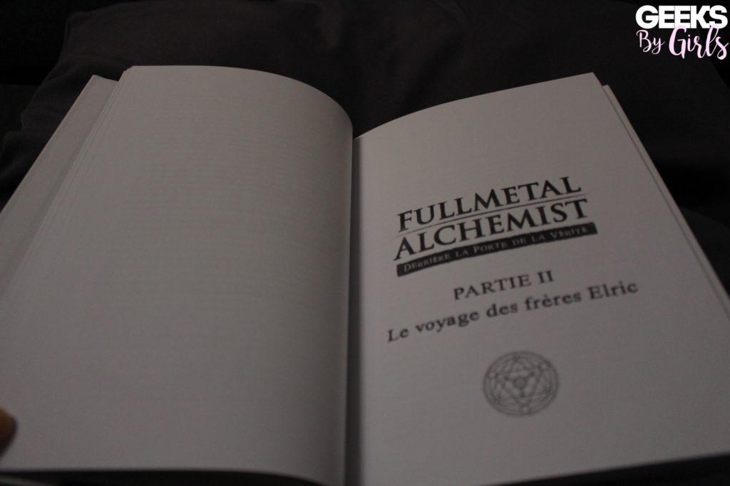 """Une page du livre """"Fullmetal Alchemist : Derrière la porte de la vérité"""" de Mariela González publié par Third Editions."""