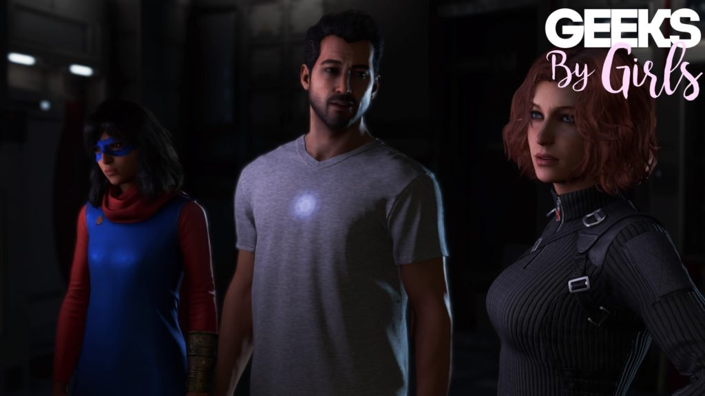 Kamala Khan, Tony Stark, et Black Widow dans Marvel's Avengers