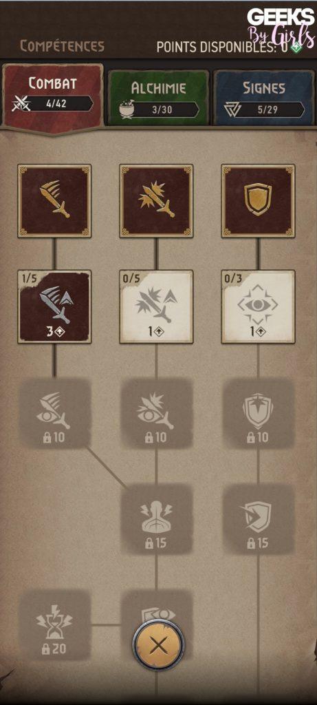 The Witcher: Monster Slayer, les compétences