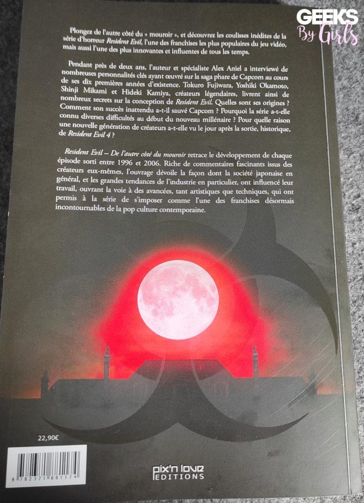 Resident Evil - De l'autre côté du mouroir, dos du livre